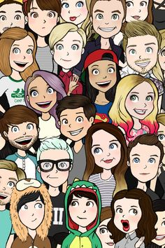 the ones i reconizw are: Pewds, iisuperwomanii, dan and phil, Miranda, Tyler Oakley, Louise, Jenna Marbles, Zoella, Joe, Ian, and Hannah