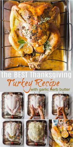 Joyful Healthy Eats Recipes The Best Thanksgiving Turkey Recipe slathered with a garlic herb butter! This easy step by step roasted turkey recipe is super moist, delicious, and hands down the best turkey you'll ever have! No brining ahead of time! Thanksgiving Truthan, Best Thanksgiving Turkey Recipe, Best Turkey Brine, Turkey Rub, Best Roasted Turkey, Turkey Gravy, Delicious Turkey Recipe, Best Simple Turkey Recipe, Gastronomia