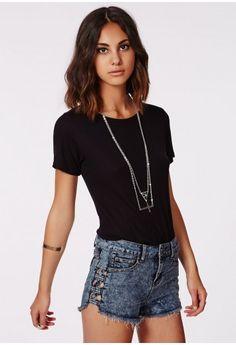 $37 Nebiara Lattice Side Denim Hotpants - Shorts - Missguided