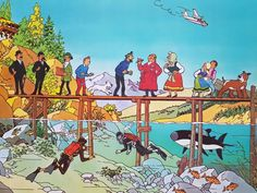 "Hergé: ""Tintin et le Lac aux requins"" / ""Tintin and the Lake of Sharks"" (Poster for the film; Illustrations, Children's Book Illustration, Album Tintin, Captain Haddock, Herge Tintin, Comic Art, Comic Books, Bd Comics, Classic Comics"