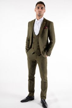MITCHELL - Tweed Olive Green Wine Check Three Piece Suit