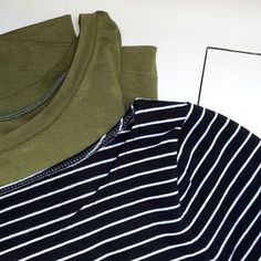Fresh off the machines. Much needed basic knit tees. Both #grainlinestudio patterns: The green one is a #hemlocktee and the one with stripes is a #larktee (boatneck variation). I have so much love for my sewing machine, swipe to see how nice the twin needle hems look. Hemming knits usually gives me shudders... It's an all metal bernina from ebay and performs much better on knits than my fancy computerized pfaff with built-in walking foot (IDT). Seams were done on my overlock.  Wishing…