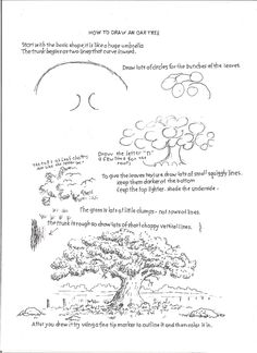 How to Draw Worksheets for The Young Artist: How to Draw an Oak Tree, Drawing Worksheet For Young Arist.