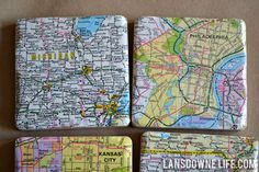 Mod Podged tile coasters are easy to make, and because they're so heavy, they feel more expensive than they actually are. When I came across a beat-up (and surely outdated) road atlas in my stash, this idea came together for my sister-in-law Jill. But these aren't just random pages from the atlas. My brother- and …