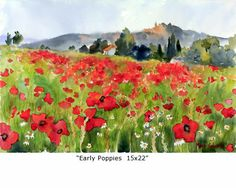 Early Poppies, 15x22, by Marie Gabrielle