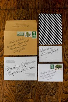 black, white, and green striped invitations for a winter wedding // photo by DallasCurow.com // invitations by PaperAndParcel.com