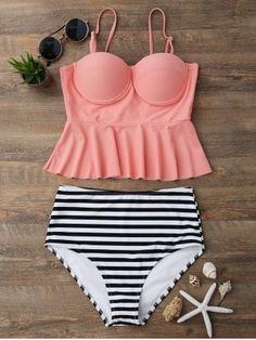 High Waisted Striped Peplum Tankini Set - Orangepink M Mobile Peplum Swimsuit, Bikini Swimwear, Bikini Set, Kids Swimwear, Swimwear Brands, Male Swimwear, Hot Pink Swimsuit, Retro Swimwear, Summer Swimwear