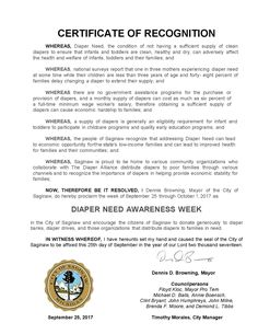 SAGINAW, MI – Mayoral proclamation recognizing Diaper Need Awareness Week (Sept 25-Oct 1) #DiaperNeed Diaperneed.org