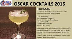 #OscarCocktails - Birdman (recipe card): American gin, Douglas Fir brandy, elderflower liqueur, honey, bitters