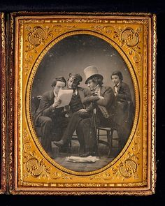 Harrison drew on his background as a playwright, poet, and actor for his role in this daguerreotype, posing with his employer, Martin Lawrence, and his son. The group gathers eagerly to listen to the latest news of the California gold rush, which was followed with great excitement in New York throughout the 1840s and 1850s