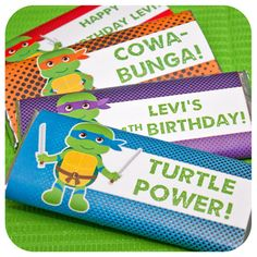 TMNT themed candy bar wrappers are fun and turtle-ly awsome for your Teenage Mutant Ninja Turtles themed birthday party. Can be personalized with your child's name and age. Turtle Birthday Parties, Ninja Turtle Birthday, Ninja Turtle Party, Happy Birthday, Ninja Turtle Pizza, Turtles Candy, Teenage Mutant Ninja Turtles, Teenage Turtles, Teenage Ninja
