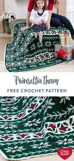 Poinsettia Throw free crochet pattern in Red Heart Super Saver. Make the guestroom more welcoming with a vintage-looking crochet throw that warms up weary holiday travelers! Red Heart Super Saver gives it a rich and classic look, but you can play with all sorts of shades to match your home décor. Whether to comfort visitors, or to accentuate your own spaces, this toasty favorite is a perfect cuddling throw for the whole family! Easy Knitting Patterns, Crochet Blanket Patterns, Crochet Afghans, Crochet Blankets, Crochet Projects, Yarn Projects, Crochet Ideas, Free Crochet, Knit Crochet