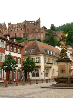 Heidelberg, Germany  A view of the Heidelberg Castle from below on the Haupstrassa