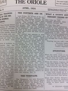 From the Oriole, April 1924. Literary Societies, Thespian Club