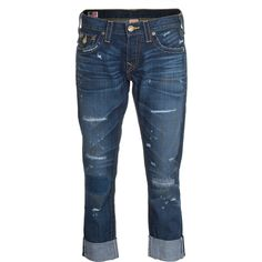 True Religion Cameron Gold Pandemon Boyfriend Jeans In Used Look ($235) ❤ liked on Polyvore featuring jeans, pants, bottoms, capris, calças, boyfriend cropped jeans, straight-leg jeans, boyfriend jeans, distressed boyfriend jeans and torn boyfriend jeans