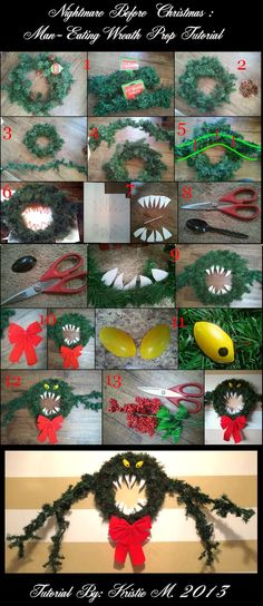 "Here is a tutorial on how to make the scary ""Man-Eating Wreath"" as seen in Nightmare Before Christmas & Disneyland's Haunted Mansion. As you can see , the Disneyland version and the film version diffe"