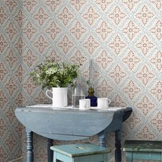 Nyborg Wallpaper by Borastapeter Swedish Wallpaper, Scandinavian Wallpaper, Classic Wallpaper, Top Of Cabinet Decor, Top Of Cabinets, Bleu Pastel, Rosalie, Bedroom Decor, Living Room Decor