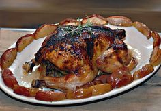 This delicious fruited chicken dish is great for guests, providing warm soft apples as comfort food along with a good dose of protein - all in one dinner.
