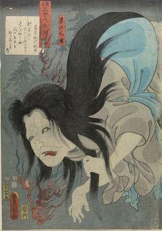 "Utagawa Kunisada, ""(Poem by) Fujiwara no Toshiyuki Ason: (Actor as) the Ghost of Kasane,"" Edo period, 1852. Harvard Art Museums/Arthur M. Sackler Museum, 1933.4.2868."