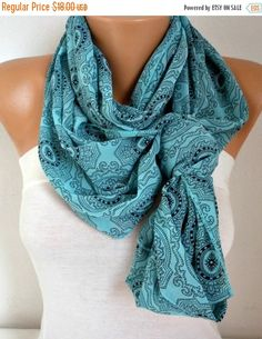 Mint Infinity Scarf Fall Fashion Cowl Scarf Circle by fatwoman