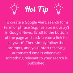 How to create a Google Alert. #writerstips #contentmarketing #hottiptuesday