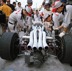 Richie Ginther wrapped this Honda around a tree during the 1966 Italian Grand Prix & was out of action for quite a while,Motorsport reported. Lorenzo Bandini, Ferrari, Harley Davidson, Bobber, Italian Grand Prix, Gilles Villeneuve, Porsche, Race Engines, Formula 1 Car