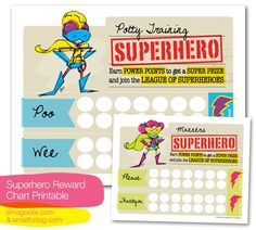 Free superhero potty chart printable: Once Upon a Crafty Mom