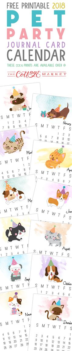 Free Printable 2018 Pet Party Journal Card Calendar