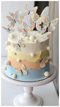 Girly Birthday Cakes, Butterfly Birthday Cakes, Elegant Birthday Cakes, Girly Cakes, Beautiful Birthday Cakes, Butterfly Cakes, Cakes With Butterflies, Birthday Cake Designs, Cake Designs For Girl
