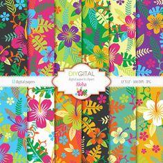 Aloha-Hawaiian Style papier numérique sertie Hibiscus tropicaux numérique papier - Hawaii numérique papier - papier numérique - coloré fleurs dété •