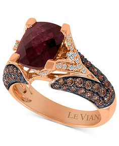 Add a little majesty to your everyday! This exquisite ring from Le Vian features a cushion-cut raspberry rhodolite Garnet (3 ct. t.w.) and chocolate diamonds (1-1/5 ct. t.w.) set in 14k rose gold with