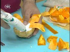 DIY como hacer flor 3 girasol listón cinta.juegos de baño Sunflower liston - YouTube