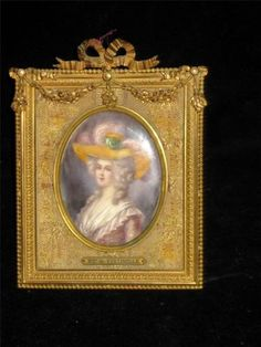 Signed by Regnol French Miniature Painting of Pauline Félicité de Mailly