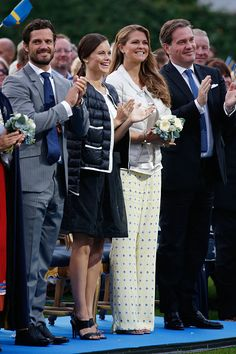 (L-R) Prince Carl Philip of Sweden, Princess Sofia of Sweden, Princess Madeleine of Sweden and Christopher O'Neill attend a concert to celebrate the 38th birthday of Crown Princess Victoria of Sweden at Borgholm on July 14, 2015 in Oland, Sweden.