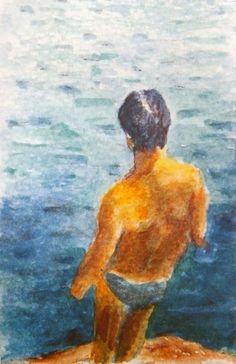 Taschenkunst_2017-31, watercolor on paper,  8,5 x 5,5 cm laminated, 2017.
