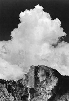 Ansel ADAMS :: Half Dome, Thunder Cloud, Yosemite Valley (no date). Originally published in 1960 in a portfolio of 16 prints. Robert Doisneau, Robert Mapplethorpe, Gordon Parks, Ansel Adams Photography, Nature Photography, Urban Photography, Color Photography, Black And White Landscape, Black N White Images