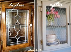 Dear Lillie: A 90's Hutch Makeover ... I think I would have left the lead glass.