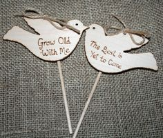 Wooden Cake Topper - Rustic Cake Topper - Love Birds - Grow Old with Me - Vintage Wedding - Wedding Vow renewal