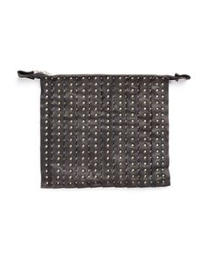 THE LOSER PROJECT Black clutch bag with studs double slider 2 types of leather 27x31 cm 100% Leather