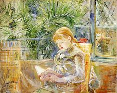 """One of """"les trois grandes dames"""" of Impressionism alongside Marie Bracquemond and Mary Cassatt, French painter Berthe Morisot was a painter and a member of the circle of painters in Paris who became known as the Impressionists. Mary Cassatt, Reading Art, Girl Reading, Children Reading, Reading Nook, Rudolf Von Alt, Berthe Morisot, Painting Prints, Art Prints"""