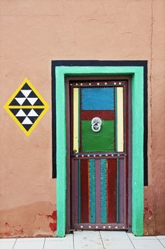 Tafraout, Morocco. #door #Morocco #colorful #geometric #architecture