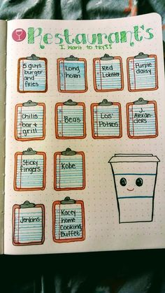 Restaurants to try collections bullet journal.- Restaurants to try collections bullet journal. For beginners. Restaurants to try collections bullet journal. For beginners. Bullet Journal Easy, Bullet Journal 2019, Bullet Journal Tracker, Bullet Journal Notebook, Bullet Journal Spread, Bullet Journal Layout, Bullet Journal Inspiration, Bujo Inspiration, Bullet Journal For School