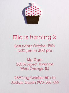 Custom Cupcake Birthday Invitations