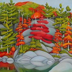 """Muskoka / Sparrow Lake 24"""" by 24"""" Oil on Canvas by Deb Gibson"""