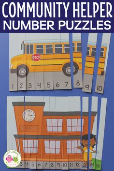 Perfect for a community helper unit, fire safety unit, back to school unit and lesson plans. Teach number recognition and number order with these printable number puzzles. Includes 1-5, 1-10, 1-15 options in full color and b&w. Great math activities for your community helpers preschool or kindergarten math centers of work stations. #preschool #communityhelpers Kindergarten Lesson Plans, Preschool Lessons, Kindergarten Activities, Number Activities, Toddler Activities, Numbers Preschool, Counting Activities, Preschool Class, Kindergarten Classroom