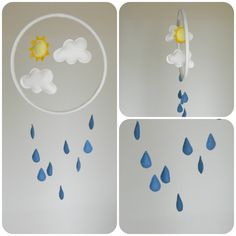 Rain Cloud mobile turquoise blue and white by Rainbowsmileshop