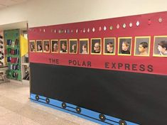 Decorations brighten Oley Valley Elementary School for holidays Polar Express Party, Polar Express Christmas Party, Polar Express Train, Polar Express Crafts, School Hallway Decorations, Office Christmas Decorations, Christmas Crafts, School Hallways, School Doors