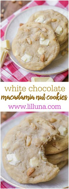 Our FAVORITE White Chocolate Macadamia Nut Cookies - so soft and chewy and filled with nuts and white chocolate chunks!