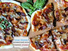 Homemade Pizza: Blue Cheese, Caramelized Onions, Bacon by The Sweet Spot Blog
