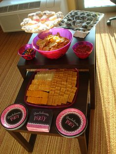 "Bachelorette Party Weekend. Hot Pink, Black, and Silver. Bachelorette Party Food Ideas | The Journey To ""We"""